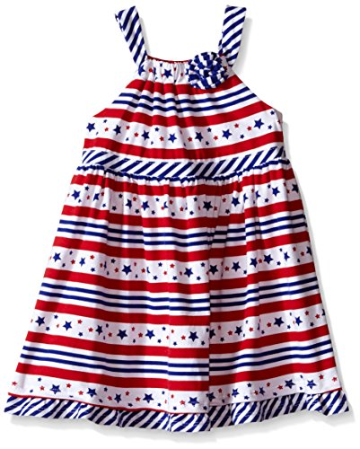 Nannette Little Girls Knit Sundress with Gathered Bodice, Red/White/Blue, 3T