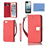 iphone 5S Case,iphone 5S Wallet Case,iphone 5S Leather Case,Cute Ailun(TM) ,Credit Card Holder, Flip Cover Skin(Red) with Screen Protector with Styli Pen Reviews
