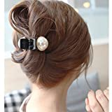 バナナクリップ ヘアクリップ ヘアアクセサリー 大きなパールがキュート 上品 便利で可愛い 髪留め 髪飾り (ブラック)