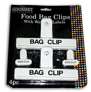 Food Bag Clips with Writable Labels - 4pc