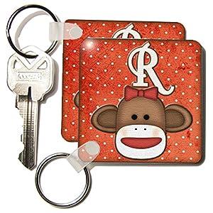 3dRose LLC 8 x 8 x 0.25 Cute Sock Monkey Girl Initial Letter R - Key Chains, set of 2 (kc_102821_1)