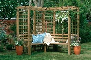 wanddekoration aus eckpavillon mit gartenbank mit rahmen und pergola spalier. Black Bedroom Furniture Sets. Home Design Ideas