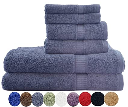"6 Piece Luxury Combed Cotton Bath Towel Set - 2 Bath Towel 30"" x 56"", 2 Hand Towel 16"" x 30"" and 2 Washcloths 13"" x 13"" 1700gm - Gray"