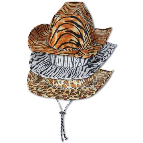 [Beistle 60720 6-Piece ASST Animal Print Cowboy Hats] (Leopard Cowboy Hat)