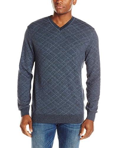 Alex Cannon Men's Textured Horizontal Diamond V-Neck Sweater
