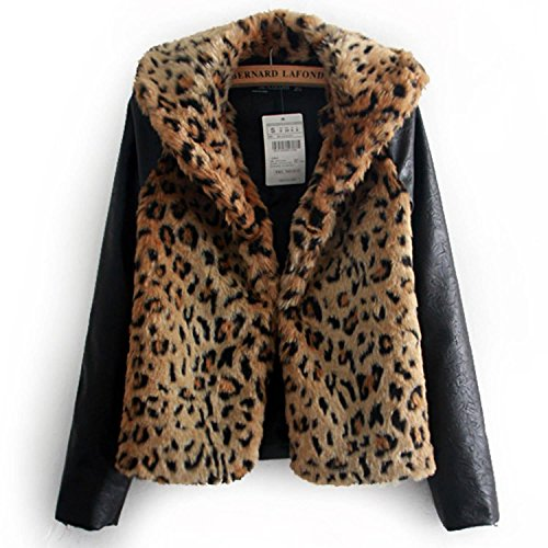 Zeagoo Fashion Damen Patchwork Leopard Mantel Slim Kunstleder Trenchcoat Kunstfell Herbst Winter Jacke