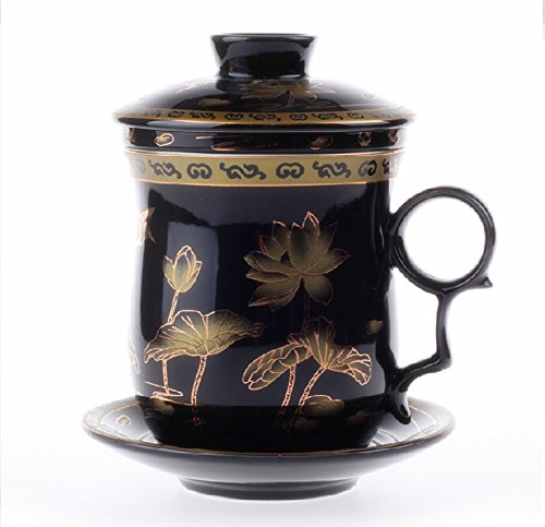 Moyishi Chinese Teaware Black Porcelain Bone Tea Cups Tea Mug (With Lid) Lotus