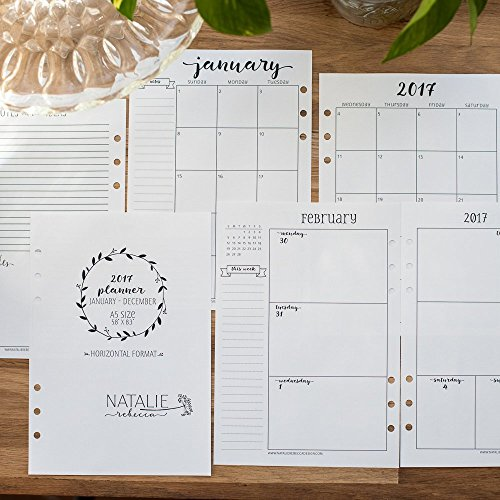 2017 Calendar for A5 Planners, Filofax, Kikki K, Carpe Diem Planners, Monday Start, Week on Two Pages (Planner Calendar Inserts compare prices)