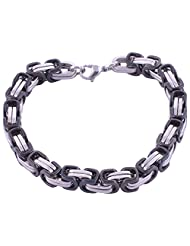 The Jewelbox Mens Boys Black Coated 316L Stainless Steel Geometric Bracelet