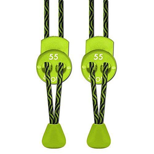 55 Sport - Stringhe elastiche per scarpe da corsa e triathlon con fermacorda, (Zig Zag Lime), One Size Fits All