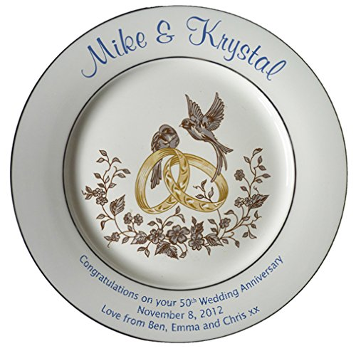 Personalized Bone China Commemorative Plate For A 50th Wedding Anniversary - Rings And Doves Design With 2 Gold Bands
