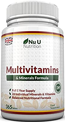 Multivitamins & Minerals Formula - 365 Tablets by Nu U Nutrition (Up to 1 Year Supply) - 24 Vitamins and Minerals for Men and Women, Suitable for Vegetarian's from Nu U Nutrition