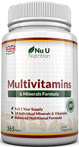 Multivitamins & Minerals Formula - 365 Tablets by Nu U Nutrition (Up to 1 Year Supply) - 24 Vitamins and Minerals for Men and Women, Suitable for Vegetarian's