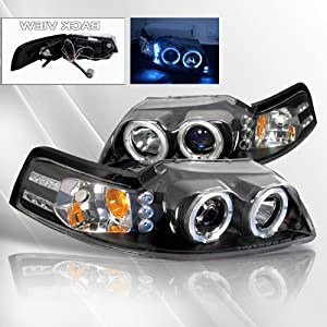 Ford Mustang 99 00 01 02 03 04 Projector Headlights /w Halo/Angel-Eyes ~ pair set (Black)