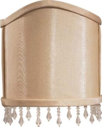 Replacement Wall Lamp Shades : Metropolitan SH2002 Half-Round Fabric Wall Sconce Shade with Bead Trim, Silkglow - Light Fixture ...