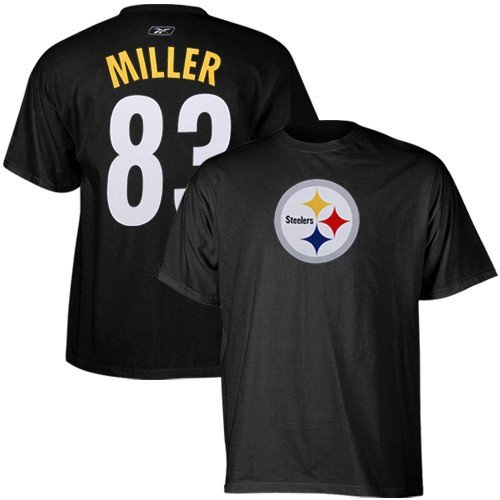 NFL Reebok Pittsburgh Steelers #83 Heath Miller Black Scrimmage Gear T-shirt (Medium)
