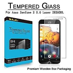 AnoKe Asus Zenfone 2 5.0 Laser ZE500KL Tempered Glass Screen Protectors 9h Hardness, 2.5d Rounded Edges, 0.3mm Thickness (Asus Zenfone 2 Laser ZE500KL)