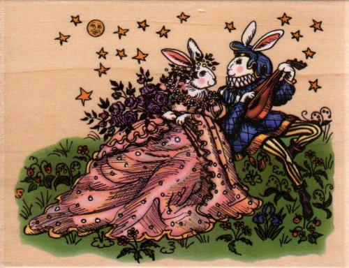 Rabbits in Love Wood Mounted Rubber Stamp (K7105)