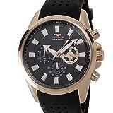 [テクノス]TECHNOS T6396PB クロノグラフ 24時間計 10気圧防水 ラバーベルト ブラック×ピンクゴールド メンズ 腕時計 [並行輸入品]