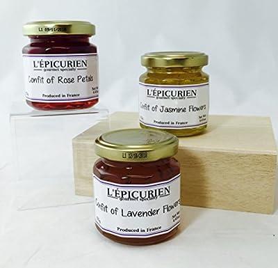 L'Epicurien Three Piece Confit Gift Set - Jasmine, Rose Petal, Lavender 4.4 ounce by L'Epicurien