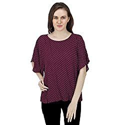 Women's Printed Top, Short Bell Sleeves, Trendy/Styish/Smart/Casual Top Wear for Women and Girls, Maroon