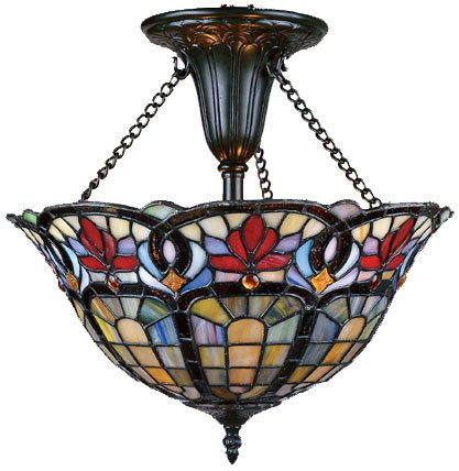 B000VUGJT0 Quoizel TF1796VB Tiffany 16-Inch Medium Semi Flush Mount, Vintage Bronze Finish