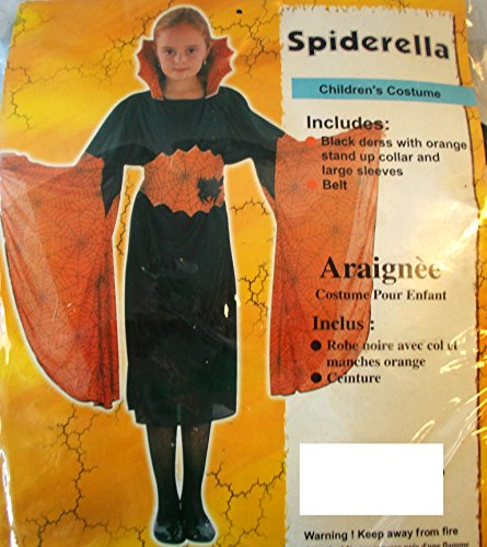 Orange Black Spiderella Child Costume Medium NIP