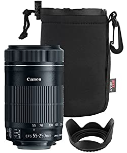 Canon EF-S 55-250mm F4-5.6 IS Mark II Lens for Canon SLR Cameras + Polaroid Tulip Lens Hood 58mm + Ritz GearTM Medium Neoprene Protective Pouch for DSLR Camera Lenses Kit Lens Camera Bundle
