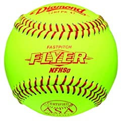 Diamond 12-Inch Leather Cover Fastpitch Softball, Cork Core, ASA Stamped, Dozen by Diamond Sports