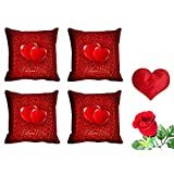 MeSleep Red Heart Valentine Cushion Cover (16x16) - Set Of 4 With Free Heart Shaped Filled Cushion And Artificial...