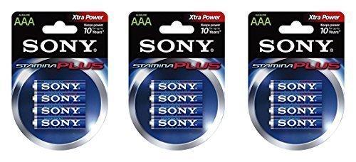 MasterStor - (Lot de 3) Sony Stamina Plus am4-b4d Usage général Batterie (AAA) Piles alcalines 4 pièces sous blister