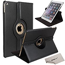 Air 2 Case, iPad Air 2 Case, SGM (TM) Case for iPad Air 2, Ultra Slim Lightweight Stand with Smart Cover With 360 Degree Rotating Feature (Black)