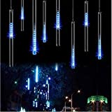 String lights,Paragala Waterproof Falling Rain Fairy Lights With 50cm 240 LED 8 Tubes Meteor Shower Rain LED Christmas Lights for Wedding Party Xmas Tree Indoor Outdoor Decoration (50cm,Blue)