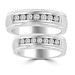 1.06 ct His & Hers Round Cut Diamond Wedding Band Ring Set in Platinum In Size 12