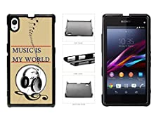 buy Music Is My World With Headphones And Music Notes Plastic Phone Case Back Cover For Sony Xperia Z1 Comes With Security Tag And Myphone Designs(Tm) Cleaning Cloth