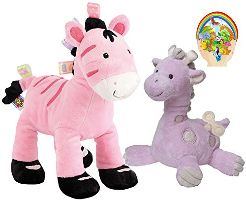 Taggies Zoey Zebra Soft Toy And Thready Wind Up Musical Giraffe Baby Set Of 2 Baby Girl Pink Favorites By Mary Meyer With Bonus Animals Sticker front-30338