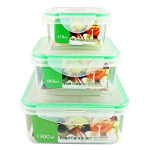 6-Piece Set - Air Tight Plastic BPA Free Square Food Storage Containers Nested with Spill... by ChefLand