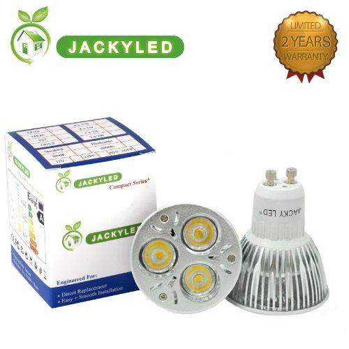 Jacky Led® 100% Original Super Bright Epistar Chips Led 2 Years Warranty Gu10 Dimmable 3X3W 9W Warm White Gu10 Led Light Lamp Bulb Bright White Led Bulb 110V-265V (Warm White)