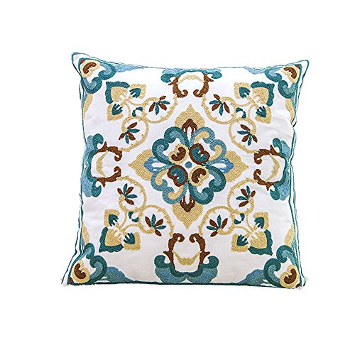"""Monkeysell Ethnic Style ,Hand-embroidered Throw Pillow Cover Case Hand Woven Pillowcase 18""""x18"""" Back Cushion for Bed Sofa Decorative (16)"""