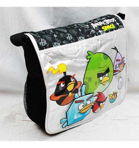 Imagen de Angry Birds Space Mensajero Grande Negro y Plata Bolsa de asas de la escuela