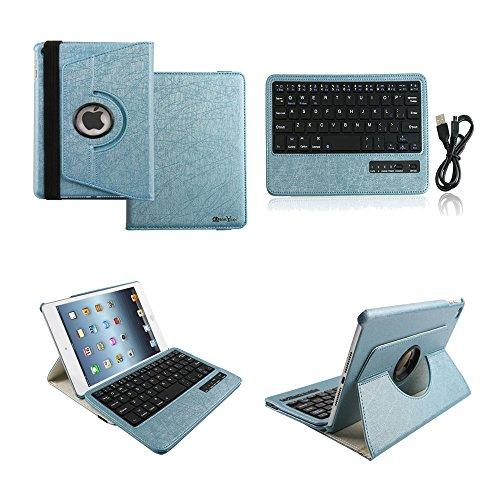[Boriyuan] iPad mini4専用 Bluetoothキーボードカバー/キーボードケース iPad mini4保護ケース360度回転式 ワイヤレスキーボード 良質PUレザーケース Bluetooth3.0搭載 キーボード分離可能 スタンド機能 保護フィルムとタッチペン付き (360ブルー)