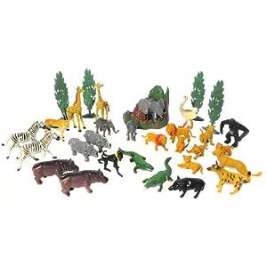Giant Bucket of Wild Jungle Animals Toy Figures - Animal Kingdom Play Set - 30 Pcs