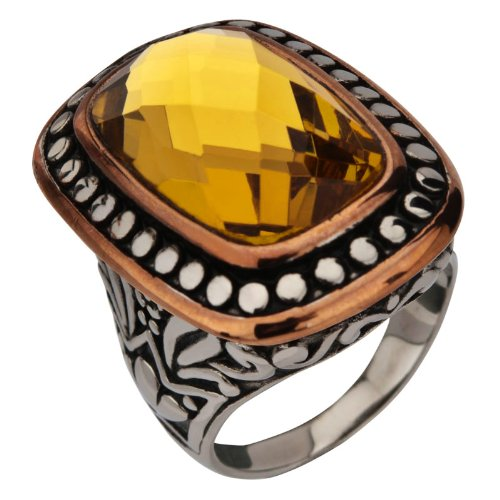 Size 7 -Inox Jewelry Women's Stainless Steel Topaz Crystal Cocktail Ring