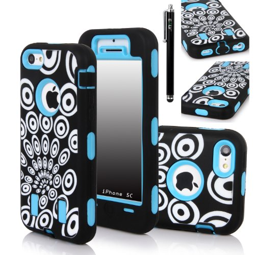 Iphone 5C Case, E Lv Iphone 5C Case - Heavy Duty Rugged Dual Layer Hybrid Armor Defender Case Cover For Iphone 5C With 1 Screen Protector, 1 Black Stylus And 1 Microfiber Sticker Digital Cleaner (Apple Iphone 5C) - Peacock Blue