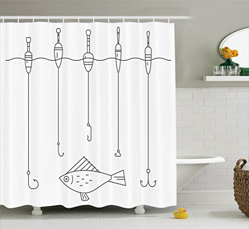 Ambesonne Vintage Decorations Collection, Fishing Tackle Floaters Hooks Fishing Gear Equipment Doodle Style, Polyester Fabric Bathroom Shower Curtain, 84 Inches Extra Long, Black And White