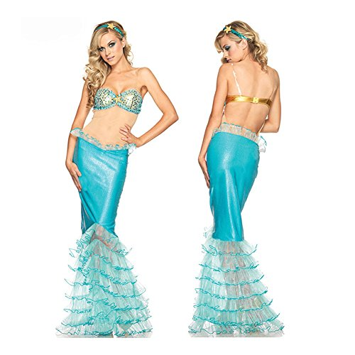 Follow518 Womens Sexy Mermaid Sequin Bra Sexy Lingerie Blue Dress Cosplay Uniform Temptation Suit Halloween Costume