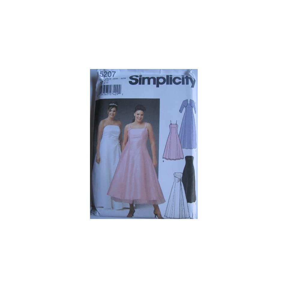 SIMPLICITY PATTERN 5207 WOMENS PETITE EVENING DRESS IN TWO LENGTHS WITH OPTIONAL FRONT OVERLAY AND BOLERO SIZE GG 26W 32W