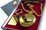 Gold Volvo Keyring AND Gold Half Hunter Quartz Pocket Watch Gift Set Volvo 740 940 760 960 850 240 V70 S60