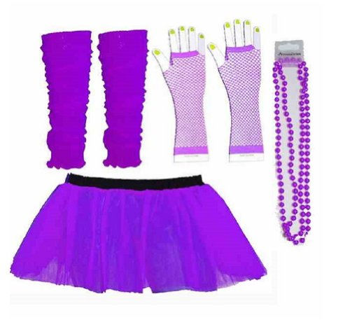 Neon Purple Tutu Legwarmers Fishnet Gloves Beads 80s Fancy Dress Costume (RB Fashions