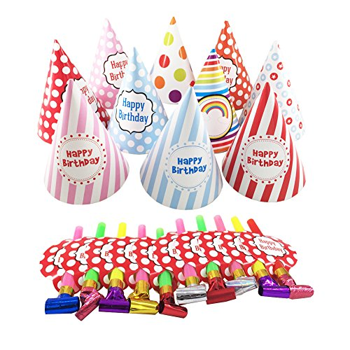 Birthday Party Hats, Kids Birthday Party Hats for Boys Girls Adults - 10 pcs party hats + 10 pcs birthday party blowers (Red Birthday Blowers compare prices)